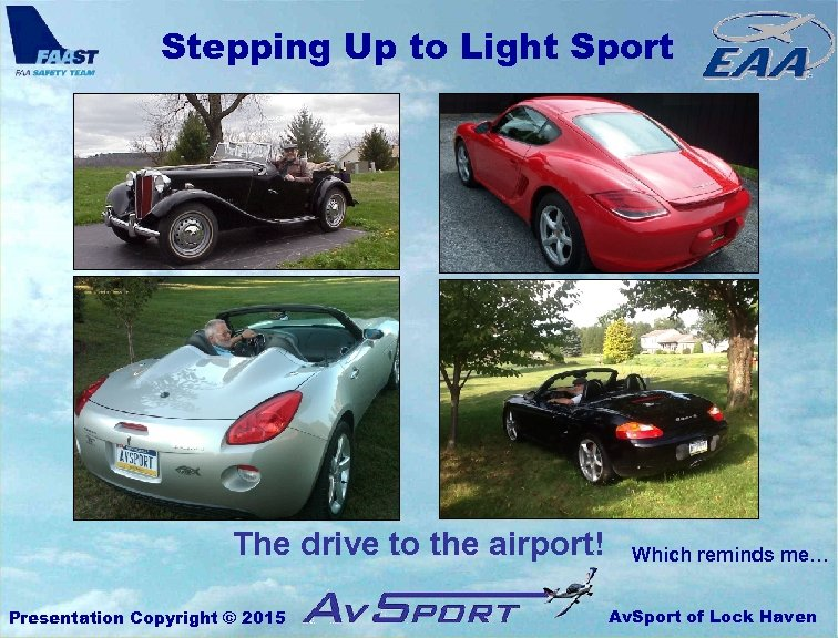 Stepping Up to Light Sport The drive to the airport! Presentation Copyright © 2015