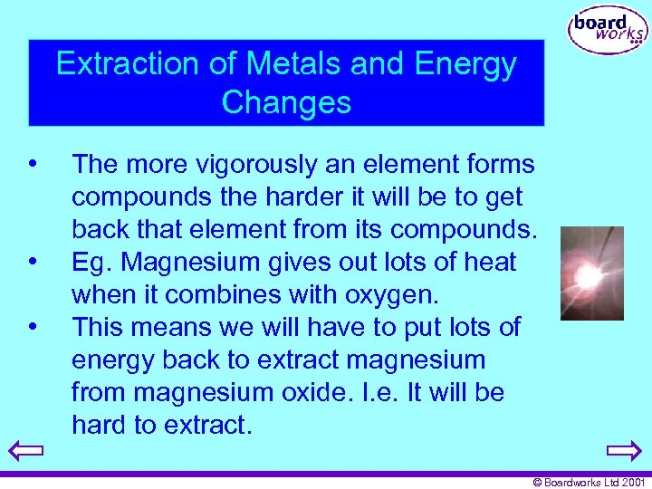 Extraction of Metals and Energy Changes • • • The more vigorously an element