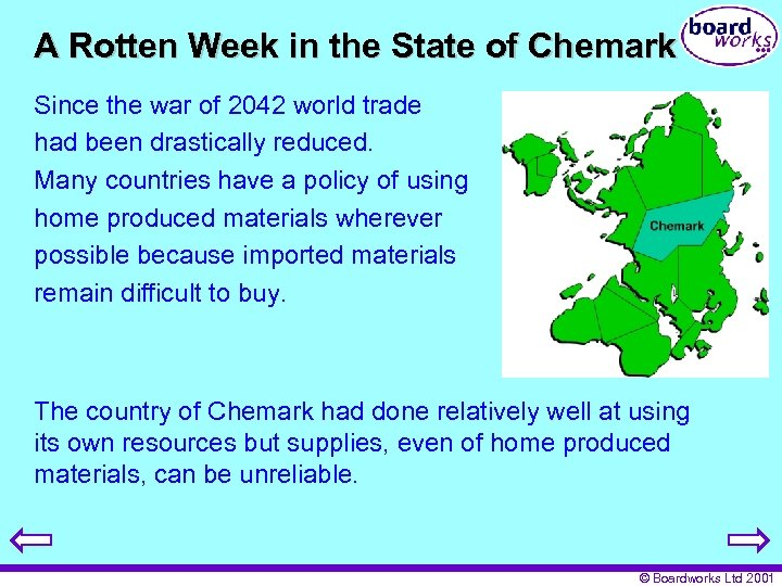 A Rotten Week in the State of Chemark Since the war of 2042 world