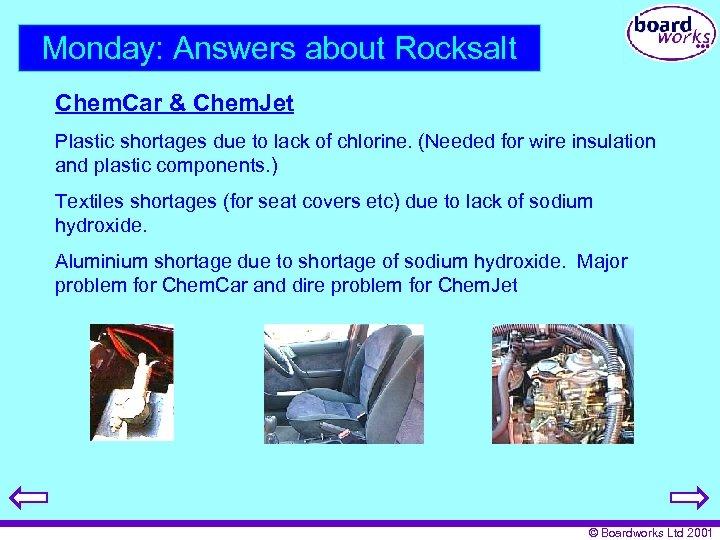 Monday: Answers about Rocksalt Chem. Car & Chem. Jet Plastic shortages due to lack