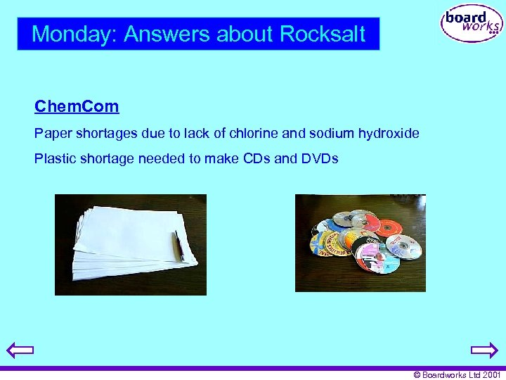 Monday: Answers about Rocksalt Chem. Com Paper shortages due to lack of chlorine and