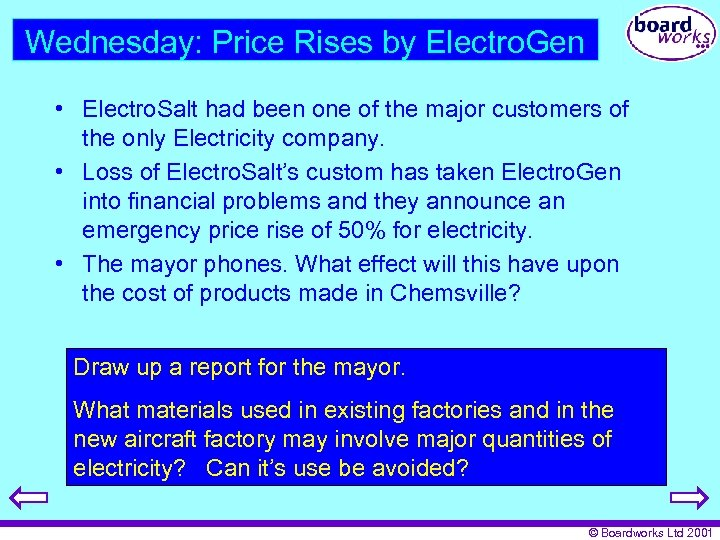 Wednesday: Price Rises by Electro. Gen • Electro. Salt had been one of the