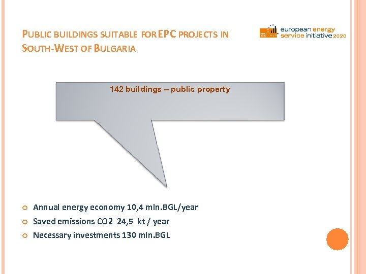 PUBLIC BUILDINGS SUITABLE FOR EPC PROJECTS IN SOUTH-WEST OF BULGARIA 142 buildings – public