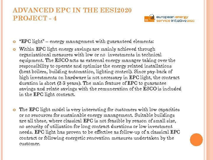 "ADVANCED EPC IN THE EESI 2020 PROJECT - 4 ""EPC light"" – energy management"