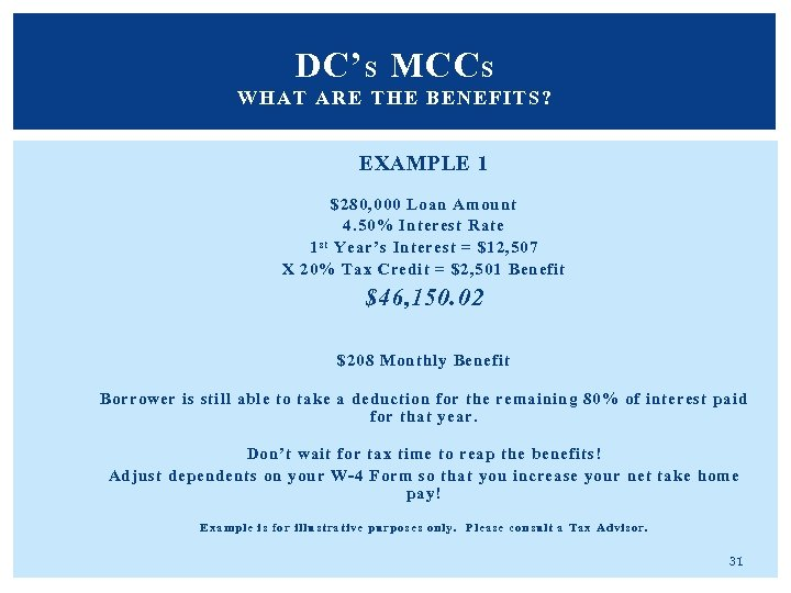 DC' S MCC S WHAT ARE THE BENEFITS? EXAMPLE 1 $280, 000 Loan Amount