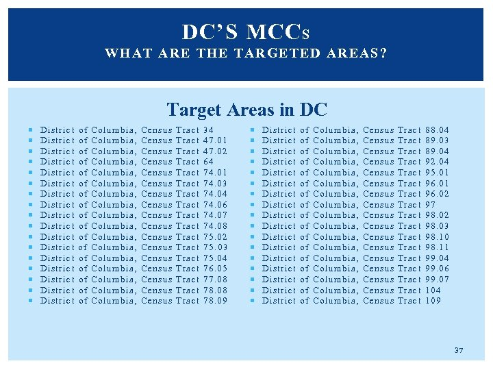 DC'S MCC S WHAT ARE T HE TARGETED AREAS? Target Areas in DC District