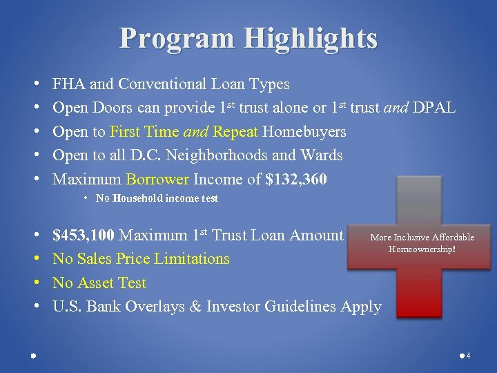 Program Highlights • • • FHA and Conventional Loan Types Open Doors can provide