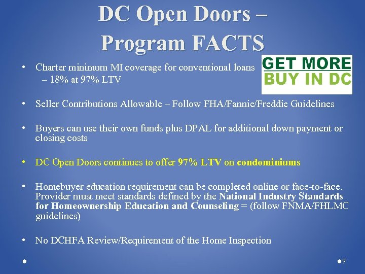 DC Open Doors – Program FACTS • Charter minimum MI coverage for conventional loans