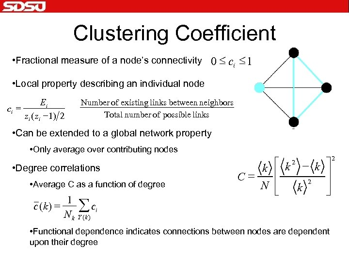 Clustering Coefficient • Fractional measure of a node's connectivity 0 £ ci £ 1