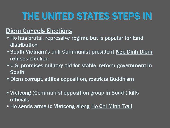 THE UNITED STATES STEPS IN Diem Cancels Elections • Ho has brutal, repressive regime