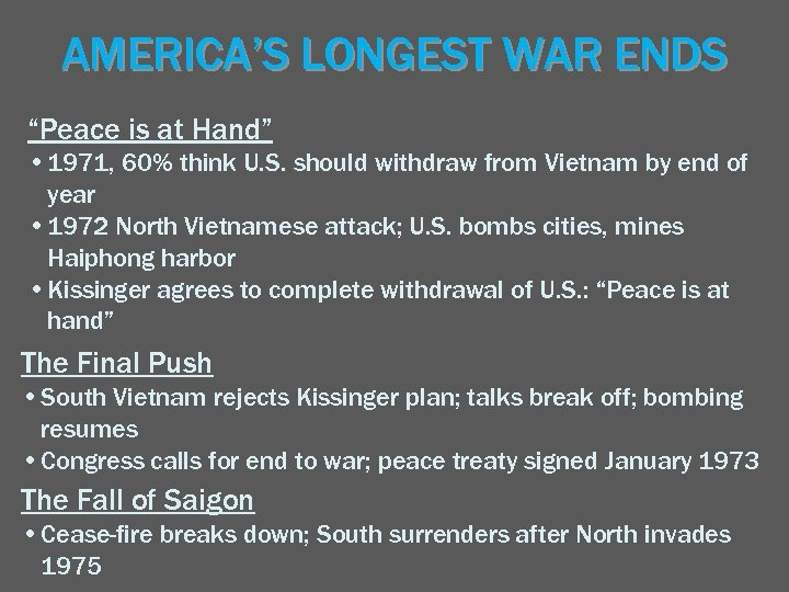 """AMERICA'S LONGEST WAR ENDS """"Peace is at Hand"""" • 1971, 60% think U. S."""