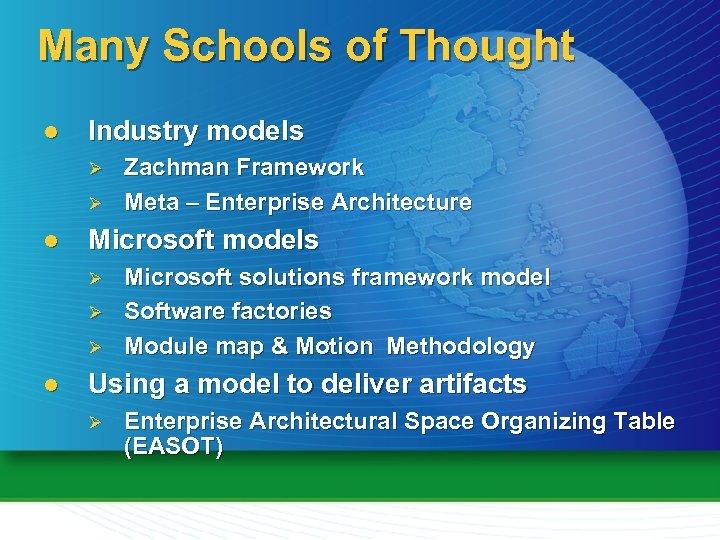 Many Schools of Thought l Industry models Ø Ø l Microsoft models Ø Ø