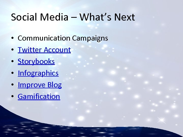 Social Media – What's Next • • • Communication Campaigns Twitter Account Storybooks Infographics