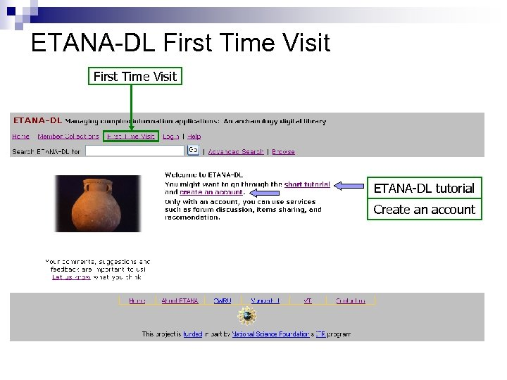 ETANA-DL First Time Visit ETANA-DL tutorial Create an account