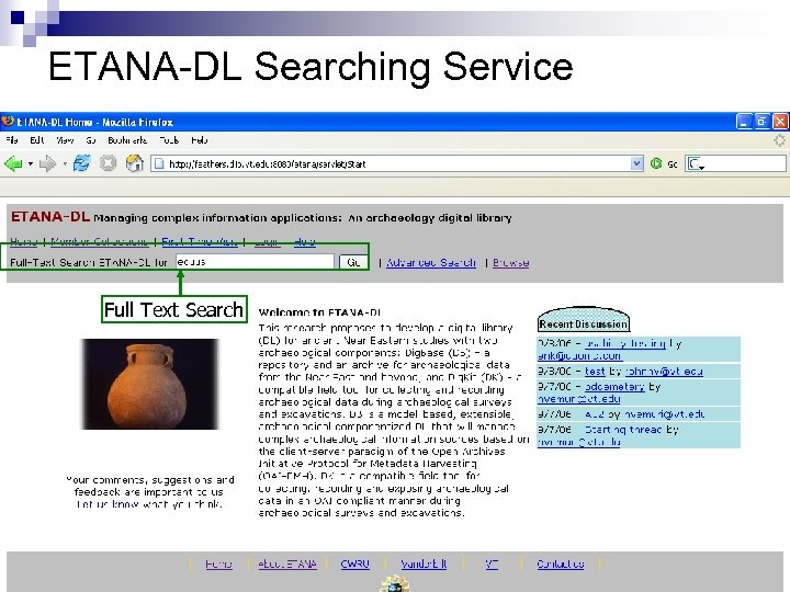 ETANA-DL Searching Service Full Text Search