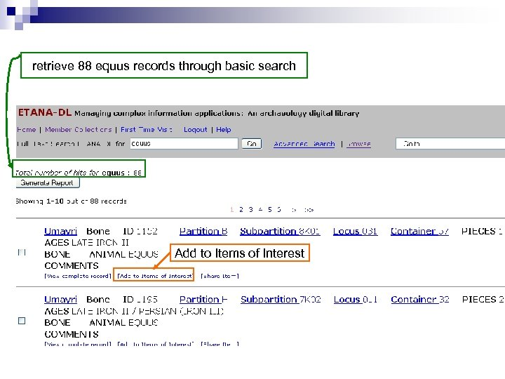 retrieve 88 equus records through basic search Add to Items of Interest