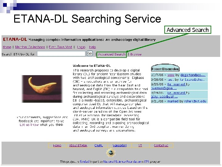 ETANA-DL Searching Service Advanced Search