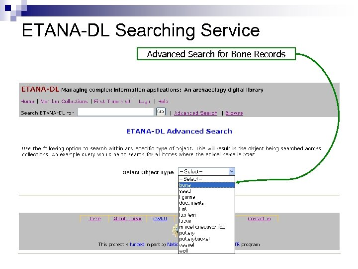 ETANA-DL Searching Service Advanced Search for Bone Records