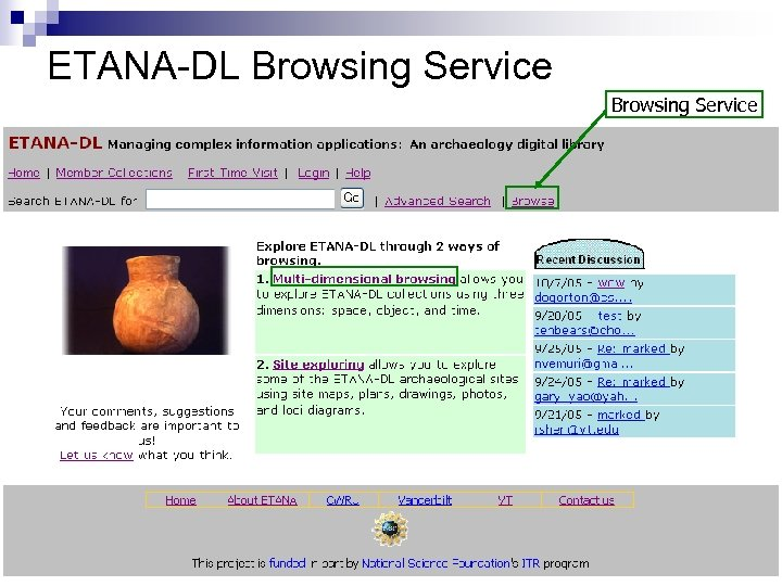 ETANA-DL Browsing Service