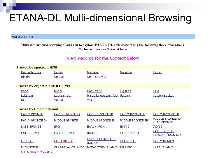 ETANA-DL Multi-dimensional Browsing