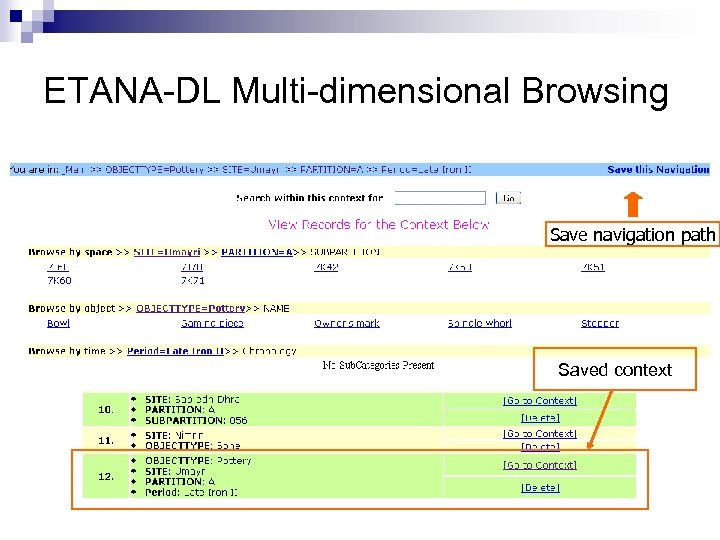 ETANA-DL Multi-dimensional Browsing Save navigation path Saved context