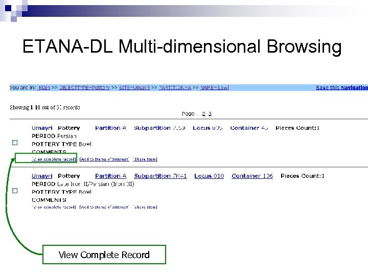 ETANA-DL Multi-dimensional Browsing View Complete Record