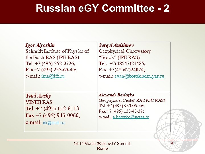 Russian e. GY Committee - 2 Igor Alyoshin Schmidt Institute of Physics of the