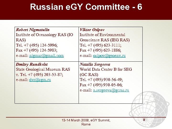 Russian e. GY Committee - 6 Robert Nigmatulin Institute of Oceanology RAS (IO RAS)