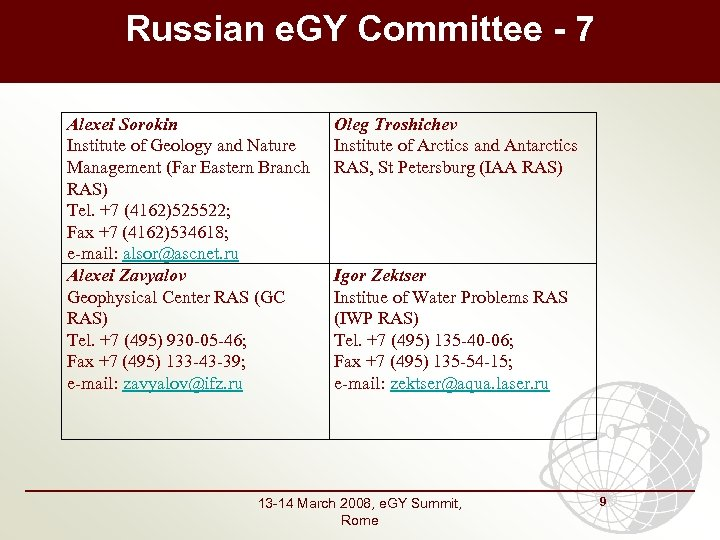Russian e. GY Committee - 7 Alexei Sorokin Institute of Geology and Nature Management