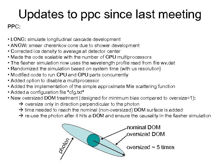 Updates to ppc since last meeting PPC: • LONG: simulate longitudinal cascade development •