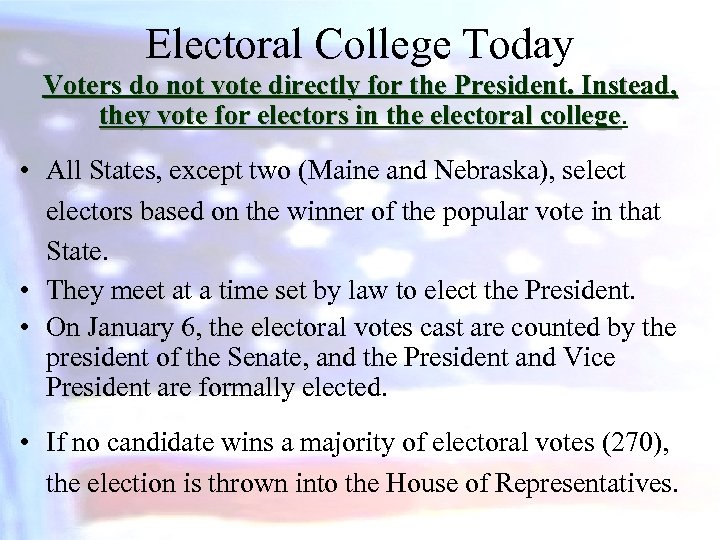 Electoral College Today Voters do not vote directly for the President. Instead, they vote