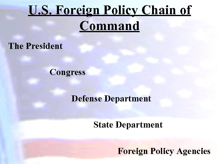 U. S. Foreign Policy Chain of Command The President Congress Defense Department State Department