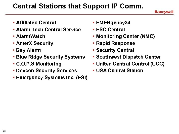 Central Stations that Support IP Comm. • • • 25 Affiliated Central Alarm Tech