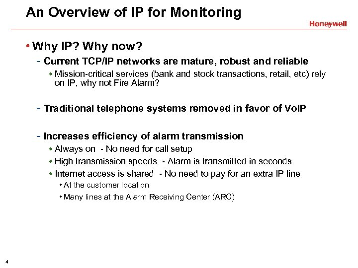 An Overview of IP for Monitoring • Why IP? Why now? - Current TCP/IP