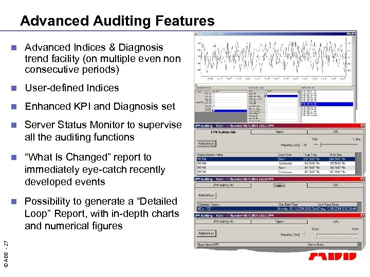 Advanced Auditing Features Advanced Indices & Diagnosis trend facility (on multiple even non consecutive