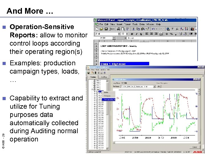 And More … Operation-Sensitive Reports: allow to monitor control loops according their operating region(s)