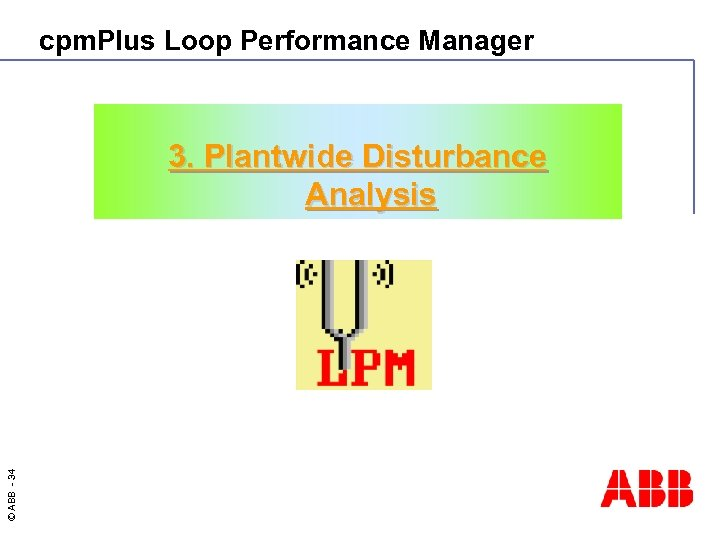 cpm. Plus Loop Performance Manager © ABB - 34 3. Plantwide Disturbance Analysis