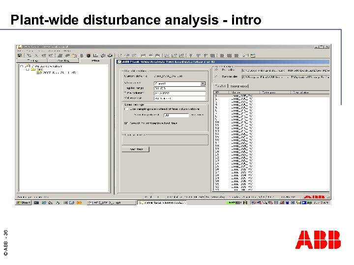 © ABB - 36 Plant-wide disturbance analysis - intro
