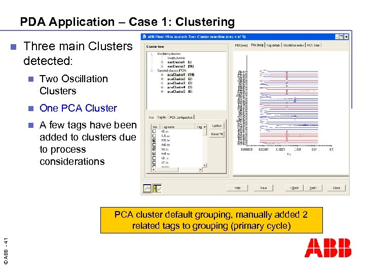 PDA Application – Case 1: Clustering n Three main Clusters detected: n Two Oscillation