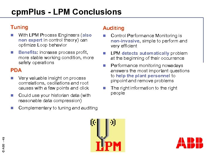 cpm. Plus - LPM Conclusions Tuning Auditing n With LPM Process Engineers (also non