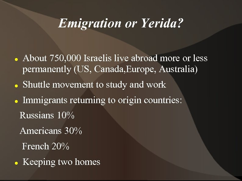 Emigration or Yerida? About 750, 000 Israelis live abroad more or less permanently (US,