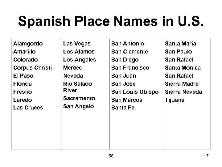 Spanish Place Names in U. S. Alamgordo Amarillo Colorado Corpus Christi El Paso Florida