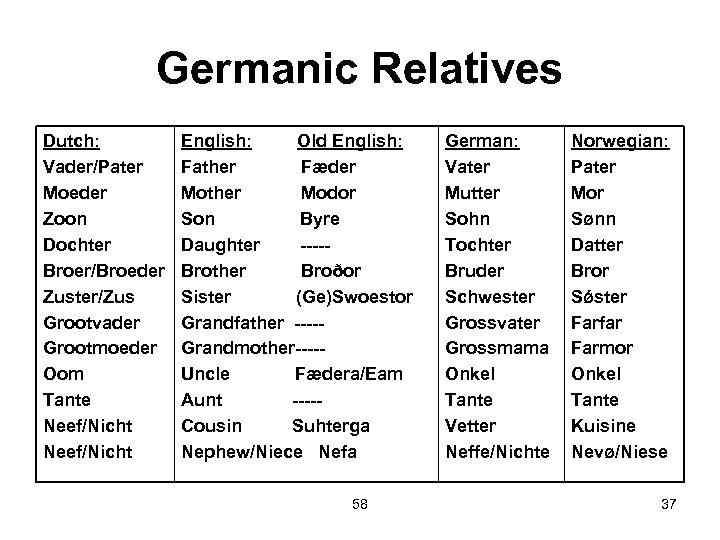 Germanic Relatives Dutch: Vader/Pater Moeder Zoon Dochter Broer/Broeder Zuster/Zus Grootvader Grootmoeder Oom Tante Neef/Nicht