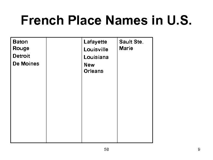 French Place Names in U. S. Baton Rouge Detroit De Moines Lafayette Louisville Louisiana