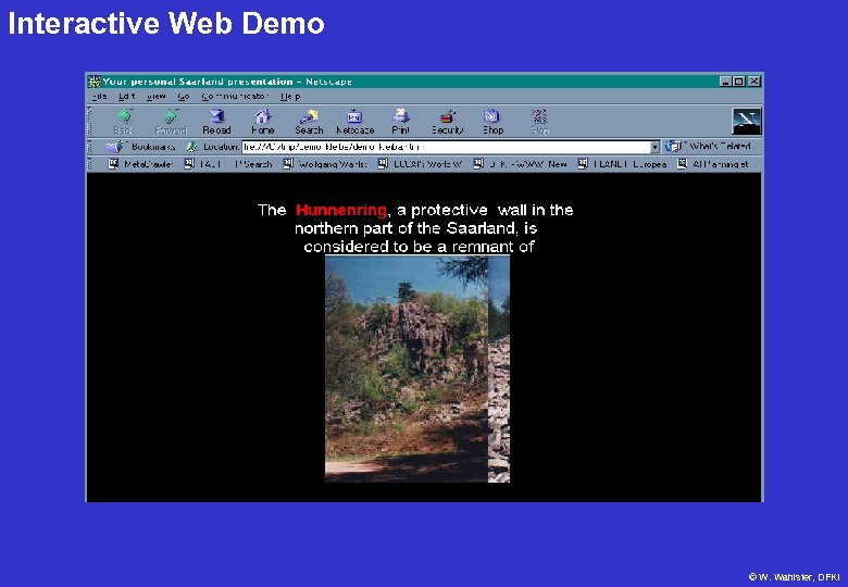 Interactive Web Demo © W. Wahlster, DFKI