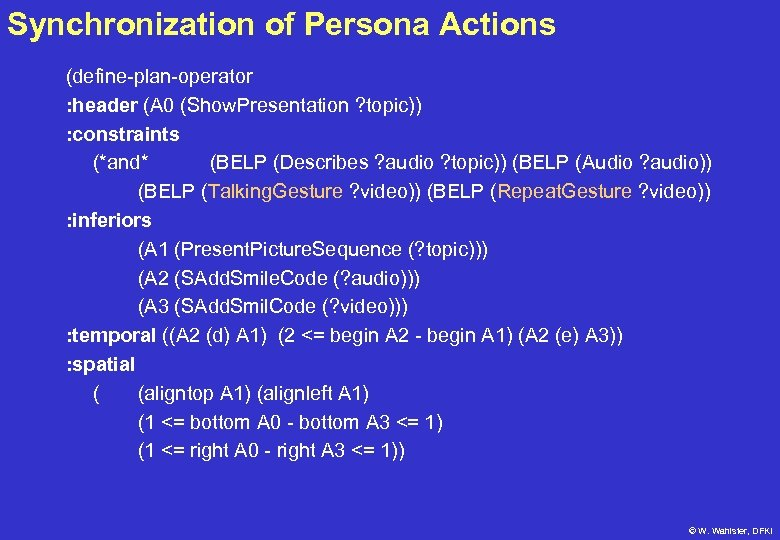 Synchronization of Persona Actions (define-plan-operator : header (A 0 (Show. Presentation ? topic)) :