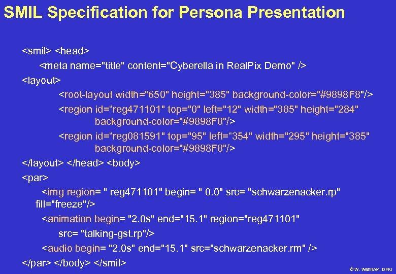 SMIL Specification for Persona Presentation <smil> <head> <meta name=