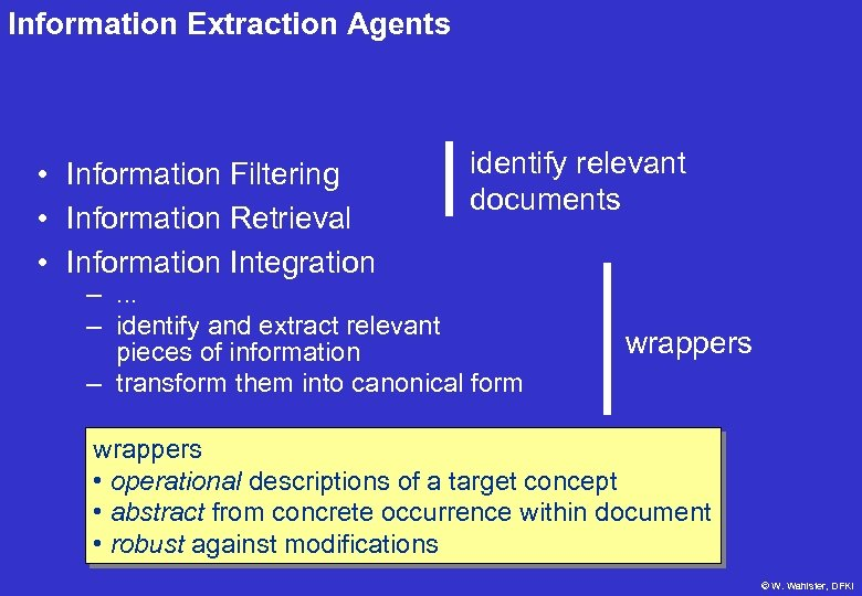Information Extraction Agents • Information Filtering • Information Retrieval • Information Integration identify relevant