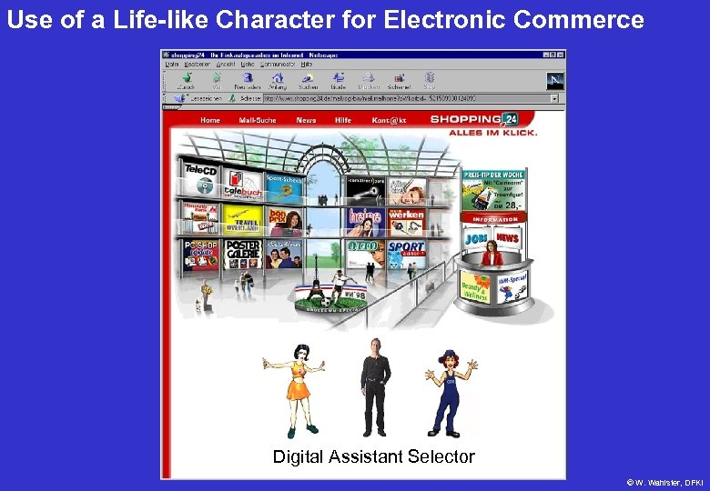 Use of a Life-like Character for Electronic Commerce Digital Assistant Selector © W. Wahlster,