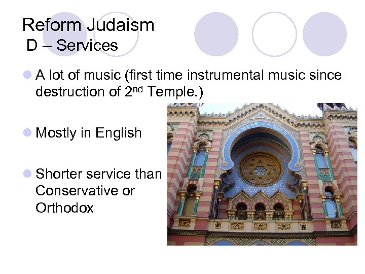 Reform Judaism D – Services l A lot of music (first time instrumental music